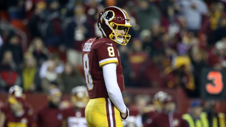 LANDOVER, MD - NOVEMBER 23: Quarterback Kirk Cousins #8 of the Washington Redskins looks on against the New York Giants at FedExField on November 23, 2017 in Landover, Maryland. (Photo by Rob Carr/Getty Images)
