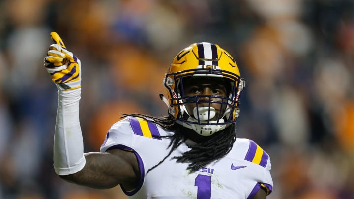 KNOXVILLE, TN – NOVEMBER 18: Donte Jackson #1 of the LSU Tigers motions towards the crowd against the Tennessee Volunteers during the first half at Neyland Stadium on November 18, 2017 in Knoxville, Tennessee. (Photo by Michael Reaves/Getty Images)