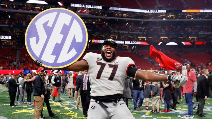 ATLANTA, GA – DECEMBER 02: Isaiah Wynn #77 of the Georgia Bulldogs celebrates beating the Auburn Tigers in the SEC Championship at Mercedes-Benz Stadium on December 2, 2017 in Atlanta, Georgia. (Photo by Kevin C. Cox/Getty Images)