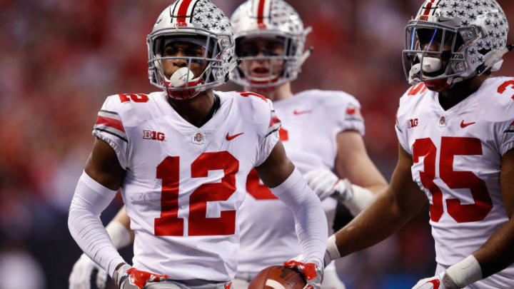 INDIANAPOLIS, IN - DECEMBER 02: Denzel Ward #12 of the Ohio State Buckeyes celebrates an interception against the Ohio State Buckeyes in the first half during the Big Ten Championship game at Lucas Oil Stadium on December 2, 2017 in Indianapolis, Indiana. (Photo by Joe Robbins/Getty Images)