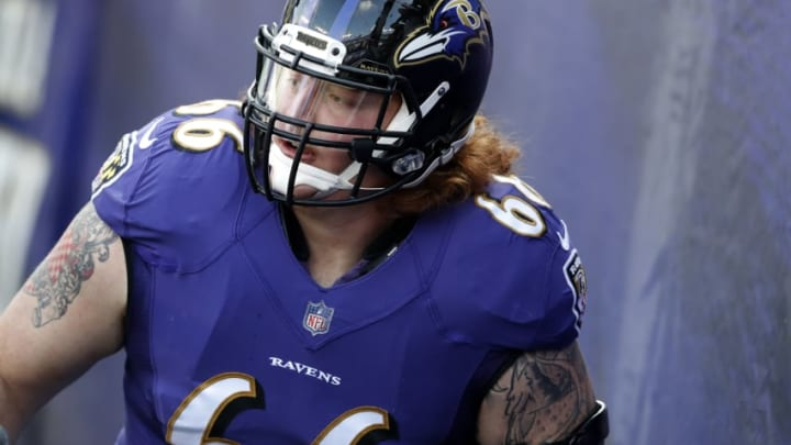 BALTIMORE, MD – DECEMBER 3: Center Ryan Jensen #66 of the Baltimore Ravens takes the field prior to the game against the Detroit Lions at M&T Bank Stadium on December 3, 2017 in Baltimore, Maryland. (Photo by Todd Olszewski/Getty Images)
