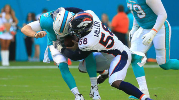 MIAMI GARDENS, FL – DECEMBER 03: Von Miller #58 of the Denver Broncos sacks Jay Cutler #6 of the Miami Dolphins during the first quarter against the Miami Dolphins at the Hard Rock Stadium on December 3, 2017 in Miami Gardens, Florida. (Photo by Chris Trotman/Getty Images)