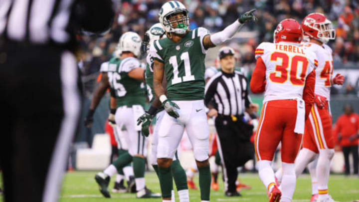 EAST RUTHERFORD, NJ – DECEMBER 03: Robby Anderson #11 of the New York Jets reacts after converting a first down in the the third quarter during their game at MetLife Stadium on December 3, 2017 in East Rutherford, New Jersey. (Photo by Abbie Parr/Getty Images)