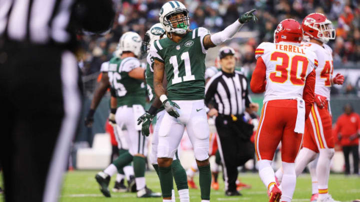 EAST RUTHERFORD, NJ - DECEMBER 03: Robby Anderson #11 of the New York Jets reacts after converting a first down in the the third quarter during their game at MetLife Stadium on December 3, 2017 in East Rutherford, New Jersey. (Photo by Abbie Parr/Getty Images)