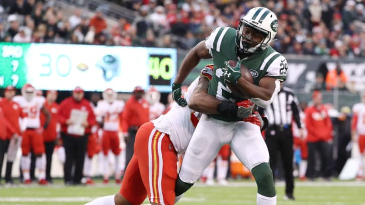 EAST RUTHERFORD, NEW JERSEY - DECEMBER 03: Bilal Powell #29 of the New York Jets carries the ball against the Kansas City Chiefs on December 03, 2017 at MetLife Stadium in East Rutherford, New Jersey.The New York Jets defeated the Kansas City Chiefs 38-31. (Photo by Elsa/Getty Images)
