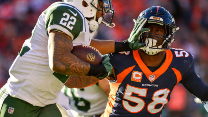 DENVER, CO – DECEMBER 10: Running back Matt Forte #22 of the New York Jets gives a stiff arm to outside linebacker Von Miller #58 of the Denver Broncos in the second quarter at Sports Authority Field at Mile High on December 10, 2017 in Denver, Colorado. (Photo by Dustin Bradford/Getty Images)