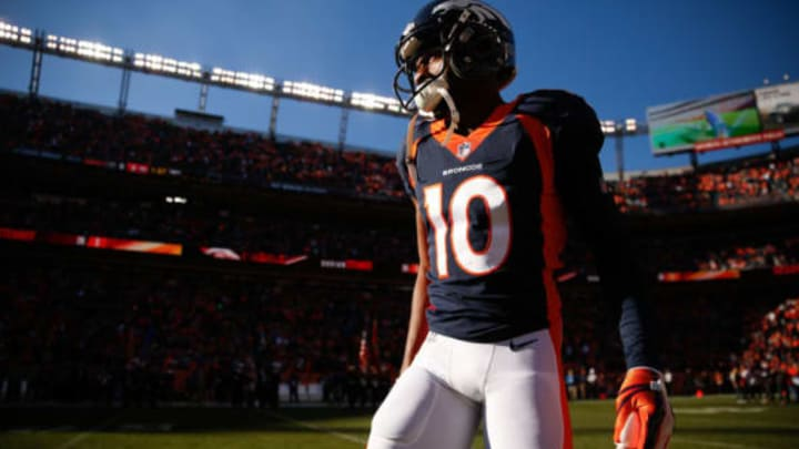 DENVER, CO – DECEMBER 10: Wide receiver Emmanuel Sanders #10 of the Denver Broncos on the field during pre-game before taking on the New York Jets at Sports Authority Field at Mile High on December 10, 2017 in Denver, Colorado. (Photo by Justin Edmonds/Getty Images)