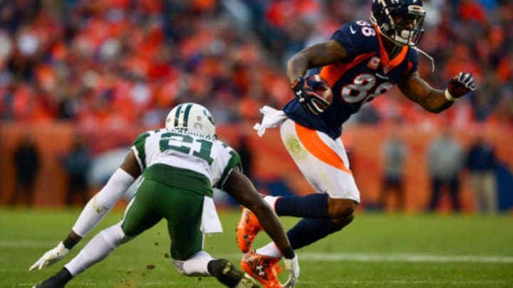 DENVER, CO – DECEMBER 10: Wide receiver Demaryius Thomas #88 of the Denver Broncos makes a catch under coverage by cornerback Morris Claiborne #21 of the New York Jets in the fourth quarter of a game at Sports Authority Field at Mile High on December 10, 2017 in Denver, Colorado. (Photo by Dustin Bradford/Getty Images)