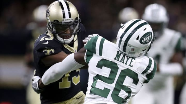 NEW ORLEANS, LA - DECEMBER 17: Michael Thomas #13 of the New Orleans Saints makes a catch over Marcus Maye #26 of the New York Jets at Mercedes-Benz Superdome on December 17, 2017 in New Orleans, Louisiana. (Photo by Chris Graythen/Getty Images)