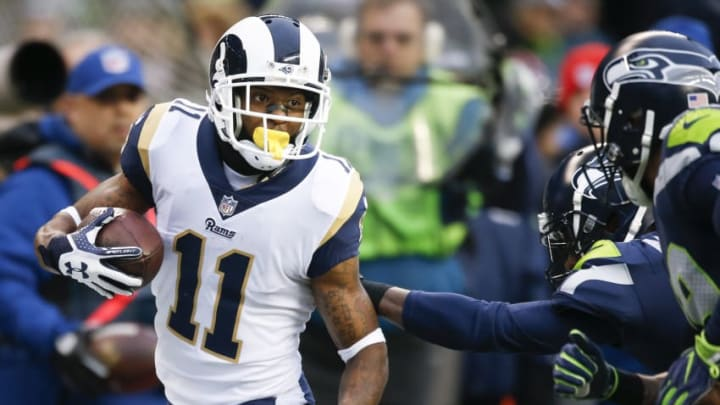 SEATTLE, WA - DECEMBER 17: Wide receiver Tavon Austin #11 of the Los Angeles Rams rushes against the Seattle Seahawks during the third quarter of the game at CenturyLink Field on December 17, 2017 in Seattle, Washington. (Photo by Otto Greule Jr /Getty Images)