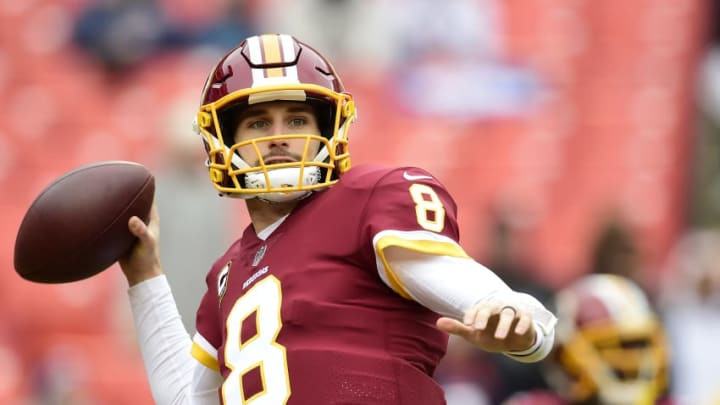 LANDOVER, MD - DECEMBER 24: Quarterback Kirk Cousins #8 of the Washington Redskins warms up before a game against the Denver Broncos at FedExField on December 24, 2017 in Landover, Maryland. (Photo by Patrick McDermott/Getty Images)
