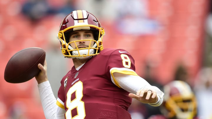 LANDOVER, MD – DECEMBER 24: Quarterback Kirk Cousins #8 of the Washington Redskins warms up before a game against the Denver Broncos at FedExField on December 24, 2017 in Landover, Maryland. (Photo by Patrick McDermott/Getty Images)