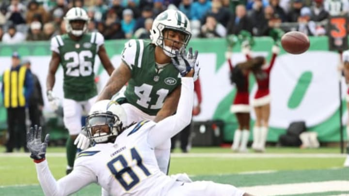 EAST RUTHERFORD, NJ – DECEMBER 24: Buster Skrine #41 of the New York Jets is called for pass interference on a pass intended for Mike Williams #81 of the Los Angeles Chargers during the first half of an NFL game at MetLife Stadium on December 24, 2017 in East Rutherford, New Jersey. (Photo by Abbie Parr/Getty Images)