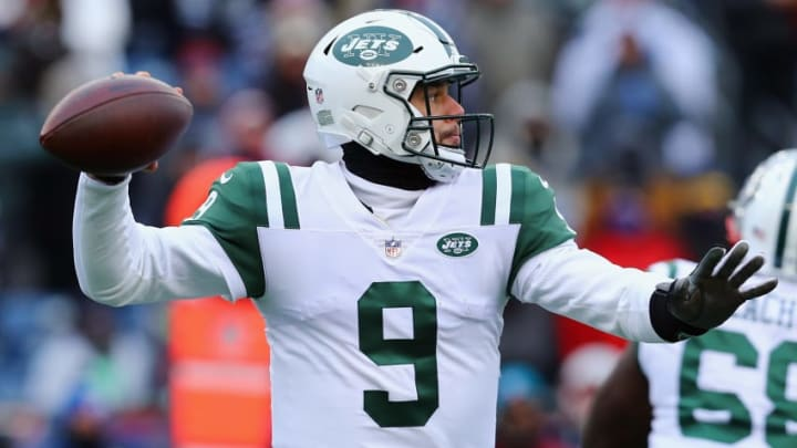 FOXBORO, MA - DECEMBER 31: Bryce Petty #9 of the New York Jets looks to pass during the second half against the New England Patriots at Gillette Stadium on December 31, 2017 in Foxboro, Massachusetts. (Photo by Maddie Meyer/Getty Images)