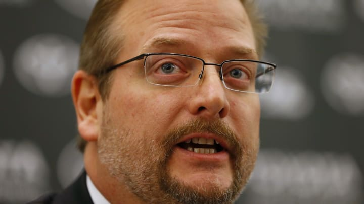 FLORHAM PARK, NJ – JANUARY 21: New York Jets General Manager Mike Maccagnan addresses the media during a press conference on January 21, 2015 in Florham Park, New Jersey. Maccagnan and Head Coach Todd Bowles were both introduced for the first time. (Photo by Rich Schultz /Getty Images)