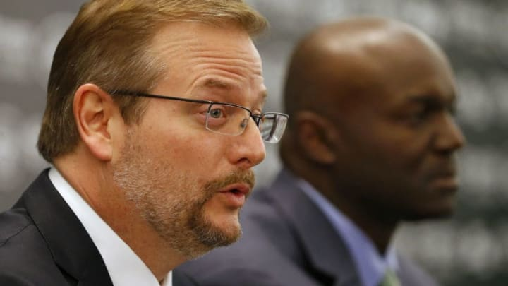 FLORHAM PARK, NJ - JANUARY 21: New York Jets General Manager Mike Maccagnan addresses the media as Head Coach Todd Bowles listens during a press conference on January 21, 2015 in Florham Park, New Jersey. (Photo by Rich Schultz /Getty Images)