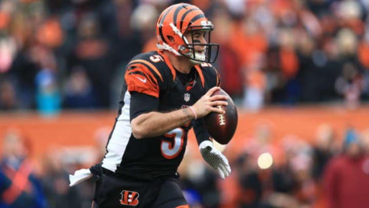 CINCINNATI, OH – JANUARY 3: Quarterback AJ McCarron #5 of the Cincinnati Bengals scrambles out of the pocket during the first quarter against the Baltimore Ravens at Paul Brown Stadium on January 3, 2016 in Cincinnati, Ohio. (Photo by Andrew Weber/Getty Images)