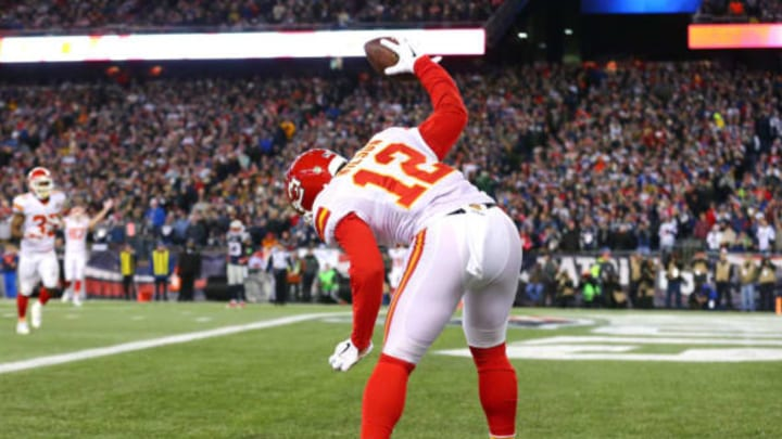 FOXBORO, MA – JANUARY 16: Albert Wilson #12 of the Kansas City Chiefs spikes the ball after a third-quarter touchdown against the New England Patriots during the AFC Divisional Playoff Game at Gillette Stadium on January 16, 2016 in Foxboro, Massachusetts. (Photo by Maddie Meyer/Getty Images)