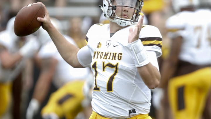 IOWA CITY, IOWA- SEPTEMBER 2: Quarterback Josh Allen #17 of the Wyoming Cowboys warms up before the match-up against the Iowa Hawkeyes, on September 2, 2017 at Kinnick Stadium in Iowa City, Iowa. (Photo by Matthew Holst/Getty Images)