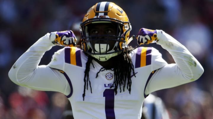 BATON ROUGE, LA - NOVEMBER 11: Donte Jackson #1 of the LSU Tigers reacts after a sack against the Arkansas Razorbacks at Tiger Stadium on November 11, 2017 in Baton Rouge, Louisiana. (Photo by Chris Graythen/Getty Images)