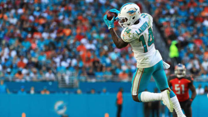MIAMI GARDENS, FL – NOVEMBER 19: Jarvis Landry #14 of the Miami Dolphins makes the catch during the third quarter against the Tampa Bay Buccaneers at Hard Rock Stadium on November 19, 2017 in Miami Gardens, Florida. (Photo by Mike Ehrmann/Getty Images)
