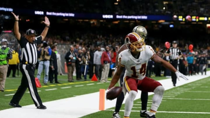 NEW ORLEANS, LA – NOVEMBER 19: Ryan Grant #14 of the Washington Redskins scores a touchdown against the Washington Redskins during the second half at the Mercedes-Benz Superdome on November 19, 2017 in New Orleans, Louisiana. (Photo by Sean Gardner/Getty Images)