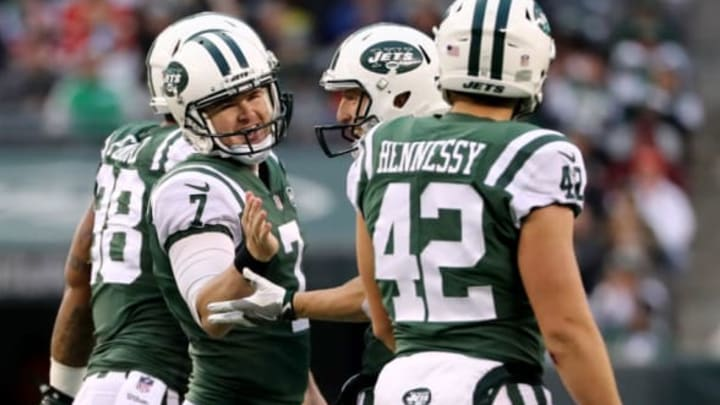 EAST RUTHERFORD, NEW JERSEY – DECEMBER 03: Chandler Catanzaro #7 of the New York Jets is congratulated after he kicked a field goal against the Kansas City Chiefs on December 03, 2017 at MetLife Stadium in East Rutherford, New Jersey.The New York Jets defeated the Kansas City Chiefs 38-31. (Photo by Elsa/Getty Images)