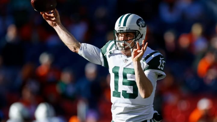 DENVER, CO - DECEMBER 10: Quarterback Josh McCown #15 of the New York Jets warms up before a game against the Denver Broncos at Sports Authority Field at Mile High on December 10, 2017 in Denver, Colorado. (Photo by Justin Edmonds/Getty Images)