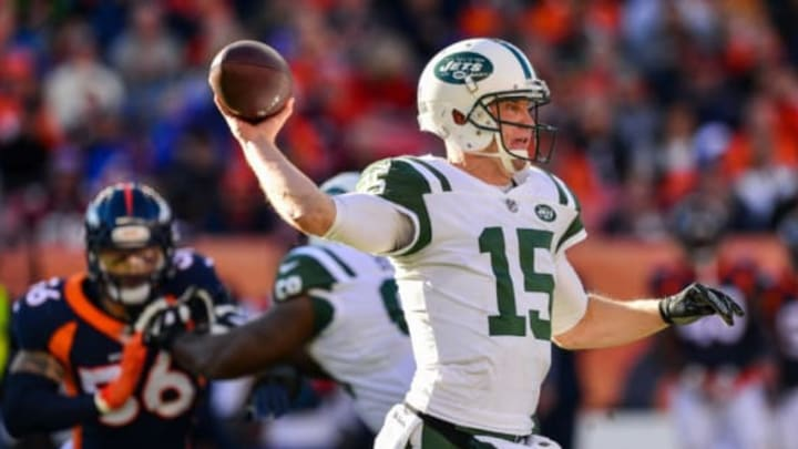 DENVER, CO – DECEMBER 10: Quarterback Josh McCown #15 of the New York Jets passes against the Denver Broncos in the second quarter at Sports Authority Field at Mile High on December 10, 2017 in Denver, Colorado. (Photo by Dustin Bradford/Getty Images)