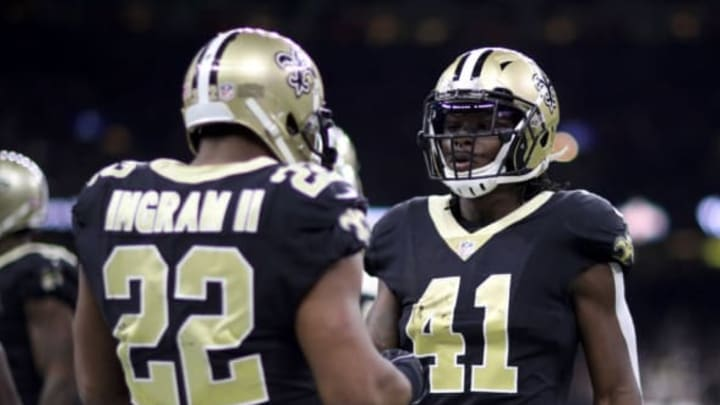NEW ORLEANS, LA – DECEMBER 24: Alvin Kamara #41 of the New Orleans Saints and Mark Ingram #22 of the New Orleans Saints talk during the game against the Atlanta Falcons at Mercedes-Benz Superdome on December 24, 2017 in New Orleans, Louisiana. (Photo by Chris Graythen/Getty Images)