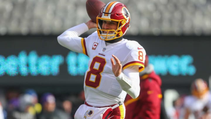 EAST RUTHERFORD, NJ - DECEMBER 31: Kirk Cousins #8 of the Washington Redskins throws a pass during warmups for the NFL game against the New York Giants at MetLife Stadium on December 31, 2017 in East Rutherford, New Jersey. (Photo by Ed Mulholland/Getty Images)