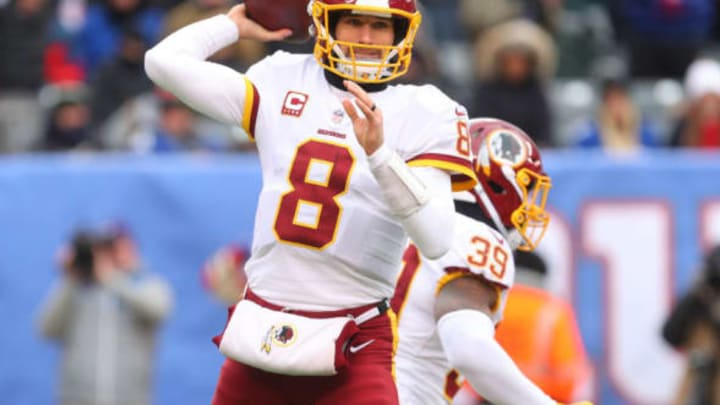 EAST RUTHERFORD, NJ – DECEMBER 31: Kirk Cousins #8 of the Washington Redskins throws a pass during the first half of their game against the New York Giants at MetLife Stadium on December 31, 2017 in East Rutherford, New Jersey. (Photo by Ed Mulholland/Getty Images)