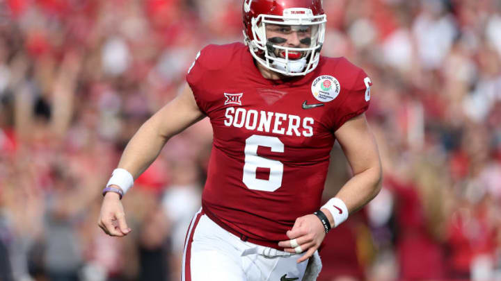 PASADENA, CA - JANUARY 01: Baker Mayfield #6 of the Oklahoma Sooners celebrates after throwing a 13-yard touchdown pass in the first quarter against the Georgia Bulldogs in the 2018 College Football Playoff Semifinal Game against the Georgia Bulldogs at the Rose Bowl Game presented by Northwestern Mutual at the Rose Bowl on January 1, 2018 in Pasadena, California. (Photo by Matthew Stockman/Getty Images)