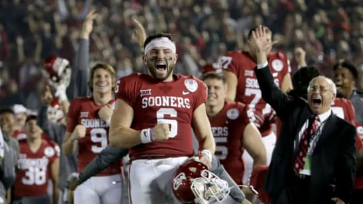 PASADENA, CA – JANUARY 01: Baker Mayfield #6 of the Oklahoma Sooners celebrates after Steven Parker #10 of the Oklahoma Sooners scores a 46 yard touchdown because of a fumble by Sony Michel #1 of the Georgia Bulldogs in the 2018 College Football Playoff Semifinal at the Rose Bowl Game presented by Northwestern Mutual at the Rose Bowl on January 1, 2018 in Pasadena, California. (Photo by Jeff Gross/Getty Images)