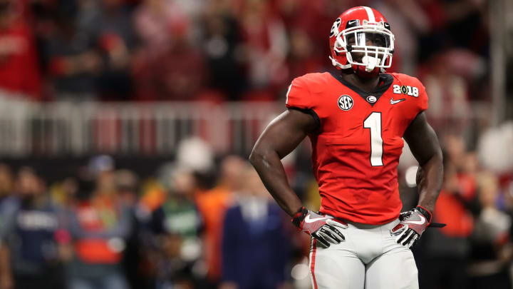 ATLANTA, GA – JANUARY 08: Sony Michel #1 of the Georgia Bulldogs stands on the field during the second quarter against the Alabama Crimson Tide in the CFP National Championship presented by AT&T at Mercedes-Benz Stadium on January 8, 2018 in Atlanta, Georgia. (Photo by Christian Petersen/Getty Images)