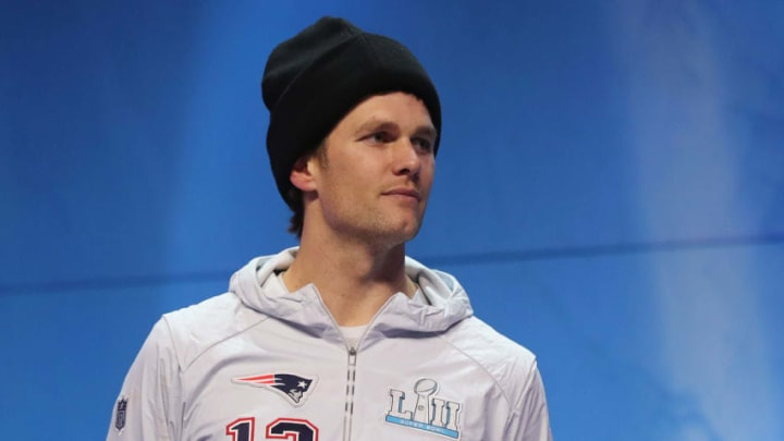 ST PAUL, MN - JANUARY 29: Tom Brady #12 of the New England Patriots speaks to the media during SuperBowl LII Media Day at Xcel Energy Center on January 29, 2018 in St Paul, Minnesota. Super Bowl LII will be played between the New England Patriots and the Philadelphia Eagles on February 4. (Photo by Elsa/Getty Images)