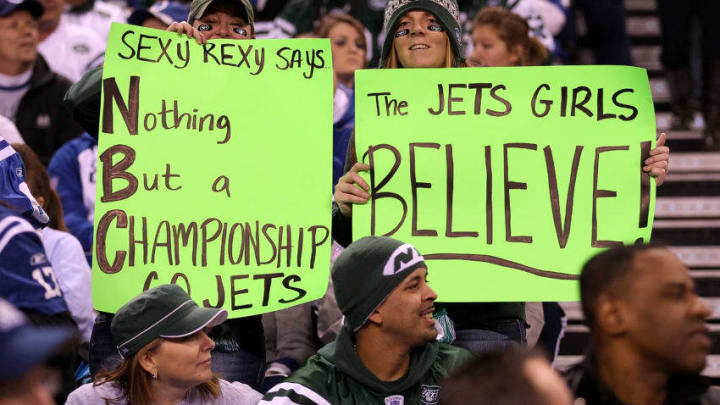 INDIANAPOLIS, IN - JANUARY 08: Fans of the New York Jets hold up signs in support of their team and head coach Rex Ryan against the Indianapolis Colts during their 2011 AFC wild card playoff game at Lucas Oil Stadium on January 8, 2011 in Indianapolis, Indiana. (Photo by Jonathan Daniel/Getty Images)