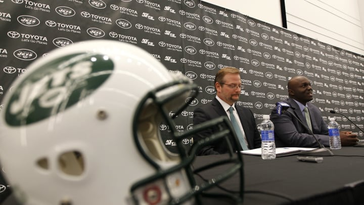 FLORHAM PARK, NJ – JANUARY 21: New York Jets General Manager Mike Maccagnan listens in as Head Coach Todd Bowles addresses the media during a press conference on January 21, 2015 in Florham Park, New Jersey. (Photo by Rich Schultz /Getty Images)