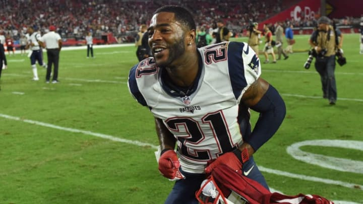 GLENDALE, AZ - SEPTEMBER 11: Cornerback Malcolm Butler #21 of the New England Patriots celebrates after the game against the Arizona Cardinals at University of Phoenix Stadium on September 11, 2016 in Glendale, Arizona. The New England Patriots won 23-21. (Photo by Ethan Miller/Getty Images)