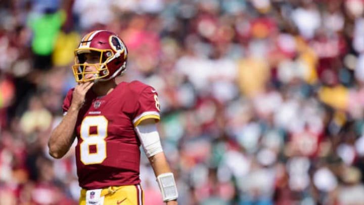 LANDOVER, MD – SEPTEMBER 10: Quarterback Kirk Cousins #8 after a play against the Philadelphia Eagle in the second quarter at FedExField on September 10, 2017 in Landover, Maryland. (Photo by Patrick McDermott/Getty Images)