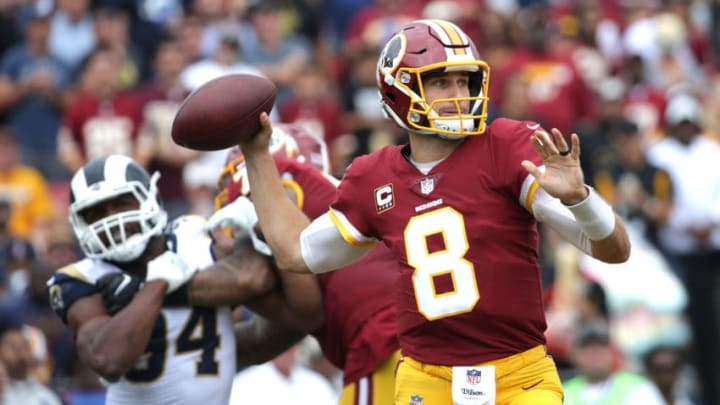 LOS ANGELES, CA - SEPTEMBER 17: Kirk Cousins #8 of the Washington Redskins throws the ball during the second quarter against the Los Angeles Rams at Los Angeles Memorial Coliseum on September 17, 2017 in Los Angeles, California. (Photo by Jeff Gross/Getty Images)