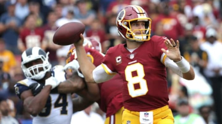LOS ANGELES, CA – SEPTEMBER 17: Kirk Cousins #8 of the Washington Redskins throws the ball during the second quarter against the Los Angeles Rams at Los Angeles Memorial Coliseum on September 17, 2017 in Los Angeles, California. (Photo by Jeff Gross/Getty Images)