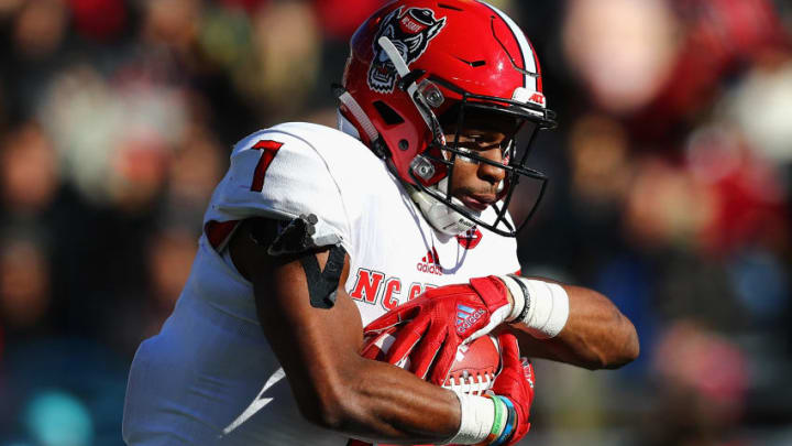 CHESTNUT HILL, MA - NOVEMBER 11: Nyheim Hines #7 of the North Carolina State Wolfpack runs with the ball during the first half against the Boston College Eagles at Alumni Stadium on November 11, 2017 in Chestnut Hill, Massachusetts. (Photo by Tim Bradbury/Getty Images)