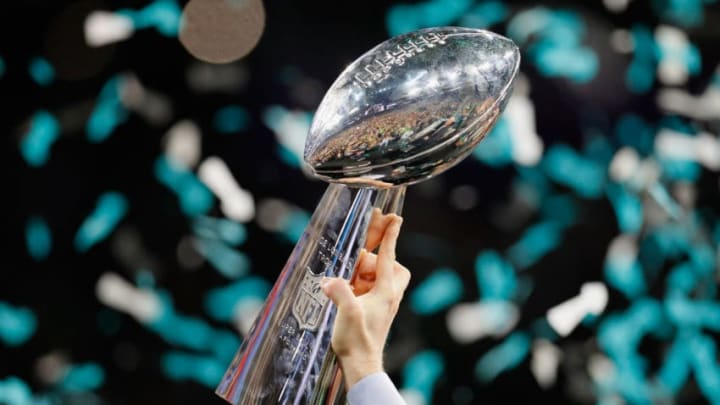 MINNEAPOLIS, MN - FEBRUARY 04: A view of the Vince Lombardi trophy after the Philadelphia Eagles 41-33 victory over the New England Patriots in Super Bowl LII at U.S. Bank Stadium on February 4, 2018 in Minneapolis, Minnesota. The Philadelphia Eagles defeated the New England Patriots 41-33. (Photo by Kevin C. Cox/Getty Images)