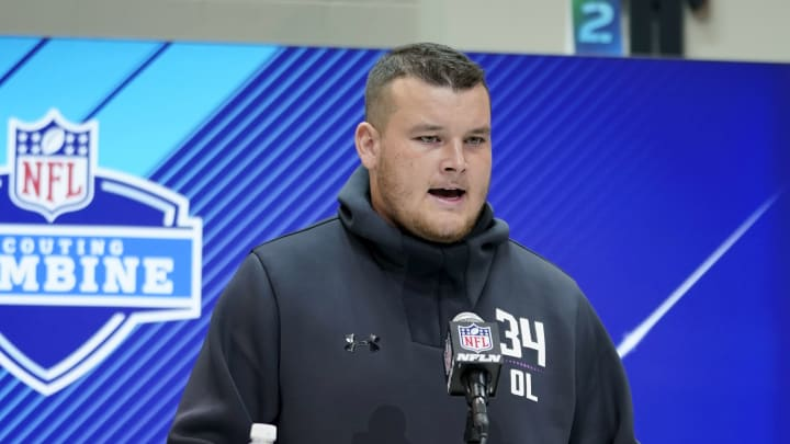 INDIANAPOLIS, IN – MARCH 01: UCLA offensive lineman Scott Quessenberry speaks to the media during NFL Combine press conferences at the Indiana Convention Center on March 1, 2018 in Indianapolis, Indiana. (Photo by Joe Robbins/Getty Images)
