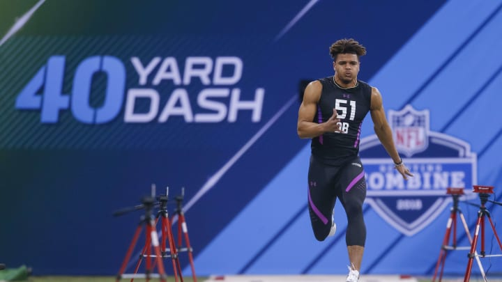 INDIANAPOLIS, IN – MARCH 05: Alabama defensive back Minkah Fitzpatrick (DB51) runs the 40 yard dash during the NFL Scouting Combine at Lucas Oil Stadium on March 5, 2018 in Indianapolis, Indiana. (Photo by Michael Hickey/Getty Images)