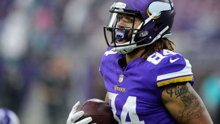MINNEAPOLIS, MN - AUGUST 31: Bucky Hodges #84 of the Minnesota Vikings looks on before the preseason game against the Miami Dolphins on August 31, 2017 at U.S. Bank Stadium in Minneapolis, Minnesota. The Dolphins defeated the Vikings 30-9. (Photo by Hannah Foslien/Getty Images)