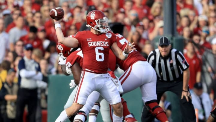 PASADENA, CA - JANUARY 01: Baker Mayfield #6 of the Oklahoma Sooners throws a pass in the 2018 College Football Playoff Semifinal Game against the Georgia Bulldogs at the Rose Bowl Game presented by Northwestern Mutual at the Rose Bowl on January 1, 2018 in Pasadena, California. (Photo by Sean M. Haffey/Getty Images)
