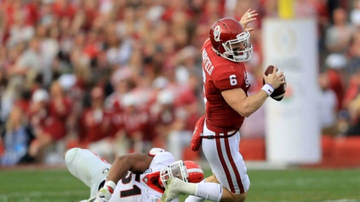 PASADENA, CA - JANUARY 01: Linebacker David Marshall #51 of the Georgia Bulldogs sacks quarterback Baker Mayfield #6 of the Oklahoma Sooners in the first half in the 2018 College Football Playoff Semifinal at the Rose Bowl Game presented by Northwestern Mutual at the Rose Bowl on January 1, 2018 in Pasadena, California. (Photo by Sean M. Haffey/Getty Images)