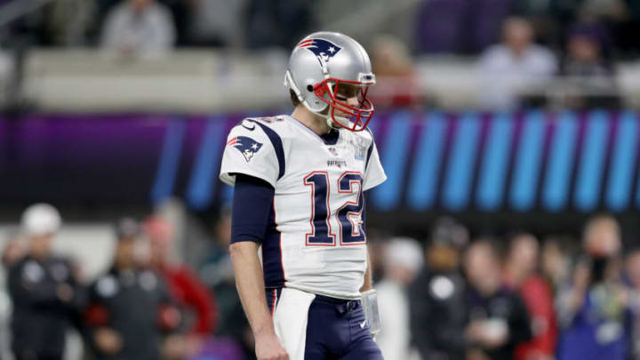 MINNEAPOLIS, MN - FEBRUARY 04: Tom Brady #12 of the New England Patriots reacts against the Philadelphia Eagles during the fourth quarter in Super Bowl LII at U.S. Bank Stadium on February 4, 2018 in Minneapolis, Minnesota. (Photo by Patrick Smith/Getty Images)